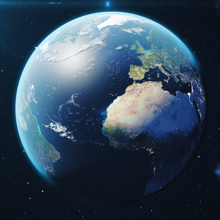 3D Rendering Planet earth from the space at night. The World Globe from Space in a star field showing the terrain and clouds