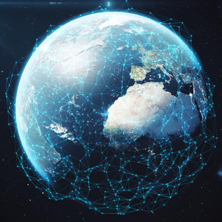 3D rendering Network and data exchange over planet earth in space. Connection lines Around Earth Globe.