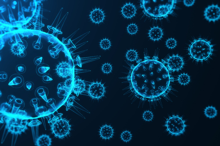 influenza: Virus and germs, bacteria, cell infected organism. Influenza Virus H1N1, Swine Flu on abstract background. Blue viruses glowing in attractive colour, 3D rendering Stock Photo