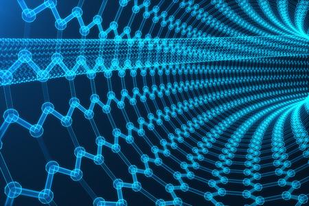 3D representar la nanotecnología abstracto hexagonal forma geométrica de primer plano, el concepto de grafeno estructura atómica, estructura molecular concepto de grafeno. Foto de archivo
