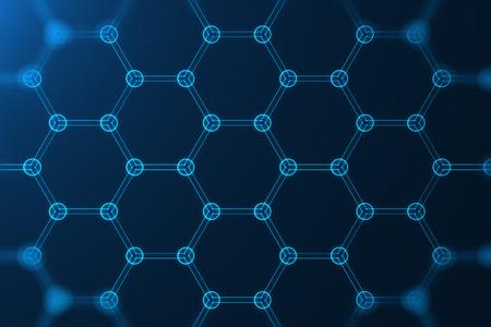 3d teruggevend abstract hexagonaal geometrisch de vormclose-up van de nanotechnologie, concept grafene atoomstructuur, concept grafene moleculaire structuur.