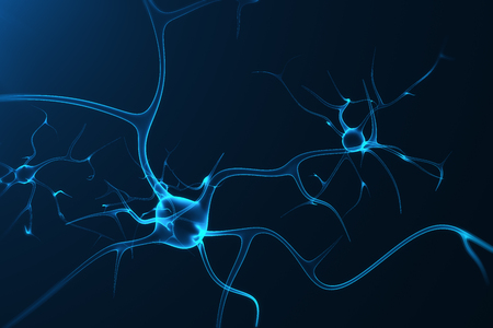 Conceptual illustration of neuron cells with glowing link knots. Synapse and Neuron cells sending electrical chemical signals. Neuron of Interconnected neurons with electrical pulses, 3D rendering