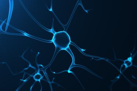 Conceptuele illustratie van neuroncellen met gloeiende linkknopen. Synapse en Neuron cellen die elektrische chemische signalen verzenden. Neuron van Interconnected neuronen met elektrische pulsen, 3D rendering