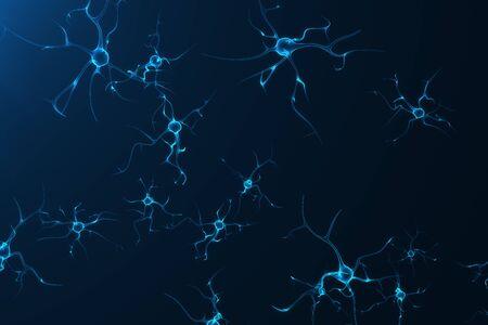 光るリンク ノットとニューロン細胞の概念図。シナプスや神経細胞の電気化学的な信号を送信します。3 D 電気パルスを相互接続された神経細胞のニ 写真素材