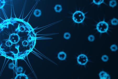 3d rendering viruses in infected organism, viral disease epidemic, virus abstract background. Stock Photo
