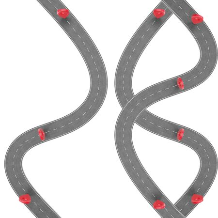 speedway: Road trip and Journey route. Winding Road on a white background with Pin Pointer. Road way location infographic template with pin pointer, 3d Rendering Stock Photo