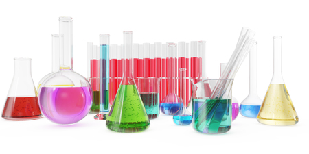 analyze: Transparent glass chemical flasks full off colored liquid and empty beaker isolated on background. 3d rendering