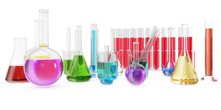 Transparent glass chemical flasks full off colored liquid and empty beaker isolated on background. 3d rendering