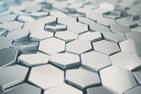 Silver abstract hexagonal background with depth of field effect. Structure of a large number of hexagons. Steel honeycomb wall texture, shiny hexagon clusters background, 3D rendering Reklamní fotografie - 88830575