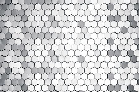 電界効果の深さと銀の抽象的な六角形の背景。六角形の多数の構造。鋼ハニカムの壁の質感、光沢のある六角形のクラスターの背景、3 D レンダリン 写真素材