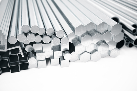 Stack of Stainless steel profiles and tubes of various diameters. Different metal products. 3d illustration Stock Photo