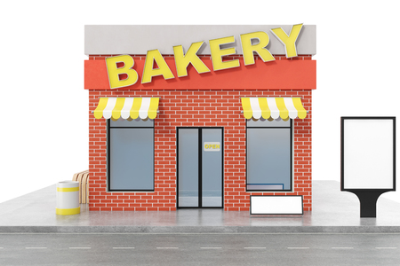 Bakery Store with copy space board isolated on white background. Modern shop buildings, store facades. Exterior market. Exterior facade store building, 3D rendering