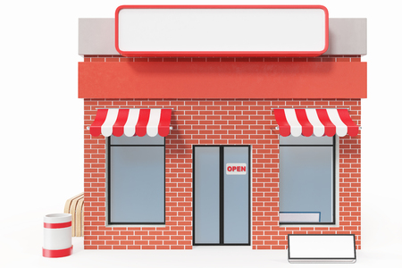 Store with copy space board isolated on white background. Modern shop buildings, store facades. Exterior market. Exterior facade store building, 3D rendering