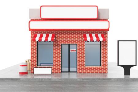 Speichern Sie mit dem Kopienraumbrett, das auf weißem Hintergrund lokalisiert wird. Moderne Ladengebäude, Ladenfassaden. Außenmarkt. Außenfassaden-Speichergebäude. 3D-Rendering