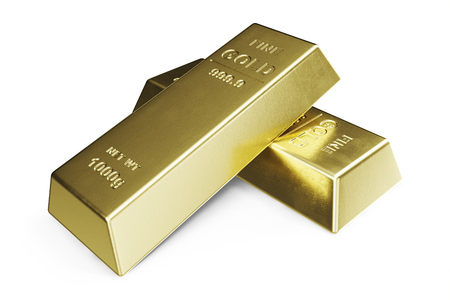 Gold Bar isolated on white background, weight of Gold Bars 1000 grams Concept of wealth and reserve. Concept of success in business and finance. 3d illustration