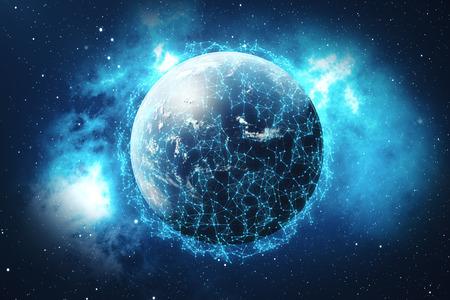 3D-rendering Wereldwijde netwerk achtergrond. Verbindingslijnen met punten rond Earth Globe. Wereldwijde internationale connectiviteit. Stockfoto - 89326081