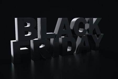 3D Rendering Black Friday, sale message for shop. Business hopping store banner for Black Friday. Black Friday sale inscription design template. Banner for your design Stock Photo