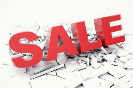 3D Rednering Sale fallen word. 3D red sale word isolated over white background with crack earth. Stock Photo