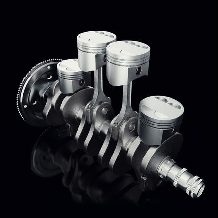 V4 engine pistons and cog on black background. Pistons and crankshaft. Four cylinder engine. V4 Car engine. Concept of modern car engine, 3D rendering Stock Photo
