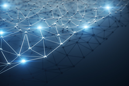 3D Illustration, Abstract background. Concept neural network and cloud computing. Geometry with connections lines and points that can represent cloud computing or internet connections Stock fotó - 90746105