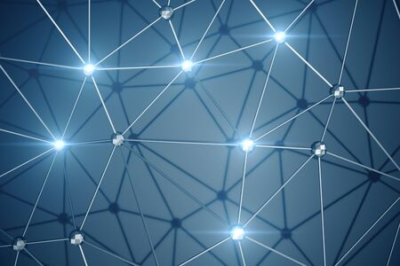 3D Illustration, Abstract background. Concept neural network and cloud computing. Geometry with connections lines and points that can represent cloud computing or internet connections