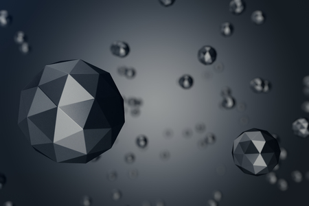 3D Illustration Abstract Background of low polygonal sphere with bokeh effects. Polygonal sphere in black background space. Futuristic Bacgkround for your design.
