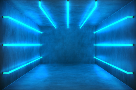 3D Illustration Abstract blue room interior with blue neon lamps. Futuristic architecture background. Box with concrete wall. Mock-up for your design project, Stock Photo