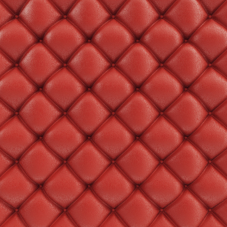 3D illustration leather sofa texture. Luxurious texture of red-colored leather upholstery. Leather Upholstery Sofa Background.