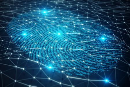 3D-Darstellung Der Fingerabdruckscan bietet einen Sicherheitszugang mit biometrischer Identifikation. Konzept Fingerabdruckschutz.