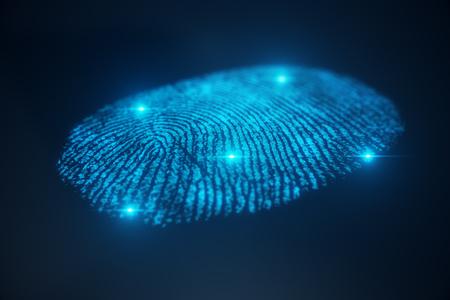 3D illustration Fingerprint scan provides security access with biometrics identification. Concept Fingerprint protection. Imagens