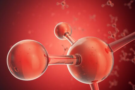 3D illustration Atoms structure. Science or medical background with molecules and atoms. Medical background for banner or flyer. Structure at the atomic level,