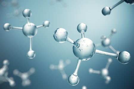 Moléculas ilustración 3D. Átomos bacgkround. Antecedentes médicos para banner o flyer. Estructura molecular a nivel atómico. Foto de archivo