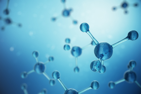 3D illustration Atoms structure. Science or medical background with molecules and atoms. Medical background for banner or flyer. Structure at the atomic level Standard-Bild