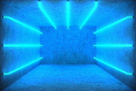 3D 그림 블루 네온 램프와 추상 블루 룸 인테리어입니다. 미래형 건축 배경입니다. 콘크리트 벽 상자입니다. 귀하의 디자인 프로젝트를위한 실물 크기 스톡 콘텐츠
