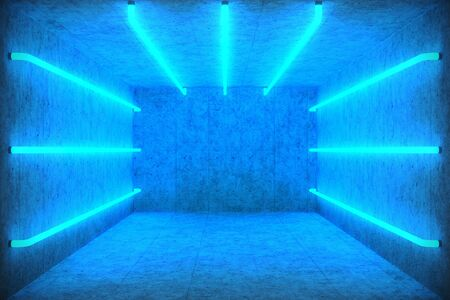 3D Illustration Abstract blue room interior with blue neon lamps. Futuristic architecture background. Box with concrete wall. Mock-up for your design project, Stock fotó