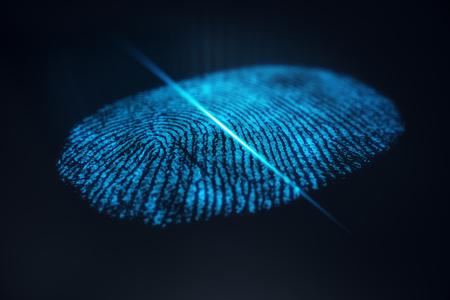 3D illustration Fingerprint scan provides security access with biometrics identification. Concept Fingerprint protection. Standard-Bild