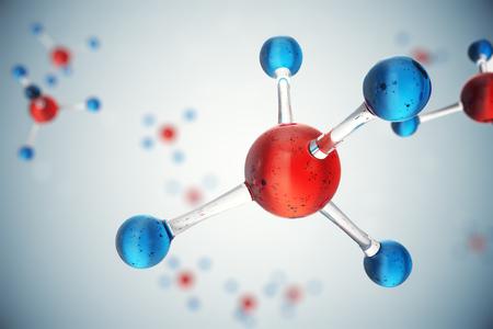 3D illustration molecules. Atoms bacgkround. Medical background for banner or flyer. Molecular structure at the atomic level. Standard-Bild