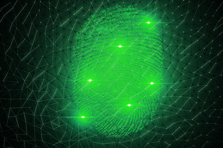3D illustration. Fingerprint Scanning Identification System. Fingerprint scan provides security access with biometrics identification, person touching screen with finger in background.