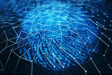 3Dイラスト。指紋スキャン識別システム。指紋スキャンは、生体認証識別、青い背景に指で画面に触れる人とセキュリティアクセスを提供します