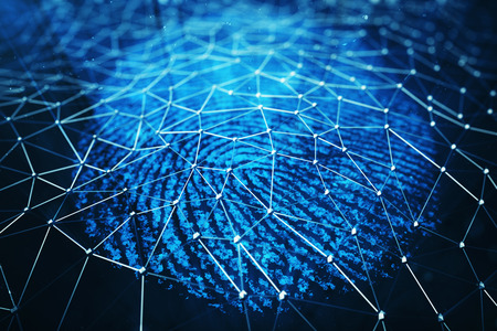 3D illustration. Fingerprint Scanning Identification System. Fingerprint scan provides security access with biometrics identification, person touching screen with finger in blue background Stock Photo