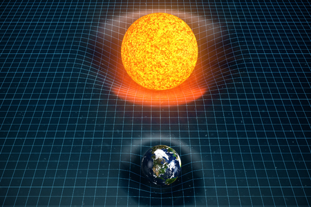 3D illustration Earths and Sun gravity bends space around it. With bokeh effect. Concept gravity deforms space time grid around universe. Spacetime curvature. Elements of this image furnished by NASA