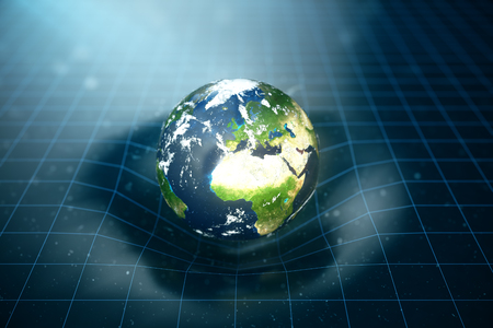 3D illustration Earths gravity bends space around it. With bokeh effect. Concept gravity deforms space time grid around universe. Stock Photo
