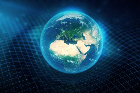 3 D 図地球の重力は、それのまわりのスペースを曲げます。ボケ味の効果。コンセプト重力は、宇宙空間の時間グリッドを変形します。 写真素材