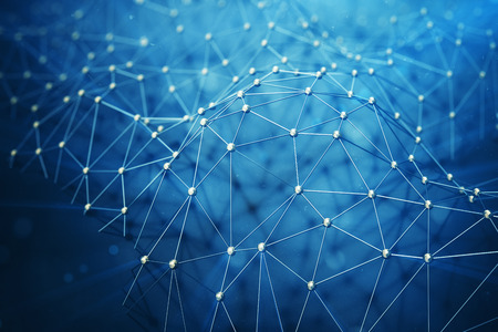 3Dイラスト抽象バクラウンド接続ドットと技術のライン。接続構造。科学の背景。被写界深度の多角形の背景、ボケ味