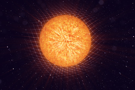 3D illustration Sun gravity bends space around it. With bokeh effect. Concept gravity deforms space time grid around universe. Spacetime curvature.