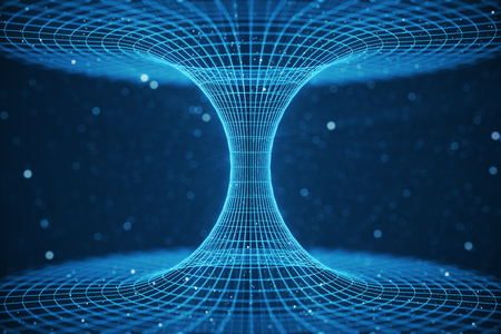 3D illustration tunnel or wormhole, tunnel that can connect one universe with another. Abstract speed tunnel warp in space, wormhole or black hole, scene of overcoming the temporary space in cosmos. Stockfoto