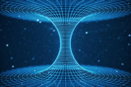 Tunel 3D ilustracji lub tunelu czasoprzestrzennego, który może połączyć jeden wszechświat z innym. Abstrakcjonistyczna prędkość tunelowa osnowa w przestrzeni, wormhole lub czarnej dziurze, scena pokonywać chwilową przestrzeń w kosmosie.