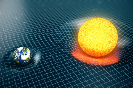 3D illustration Earths and Sun gravity bends space around it. With bokeh effect. Concept gravity deforms space time grid around universe. Banco de Imagens