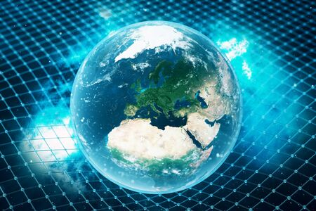 3D illustration Earths gravity bends space around it. With bokeh effect. Concept gravity deforms space time grid around universe. Banco de Imagens
