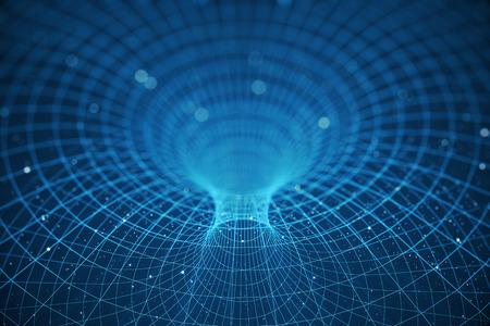 3 D イラストレーション トンネルやワームホール、別の一つの宇宙を接続することができますトンネル。抽象的な速度トンネル ワープ スペース、ワ 写真素材